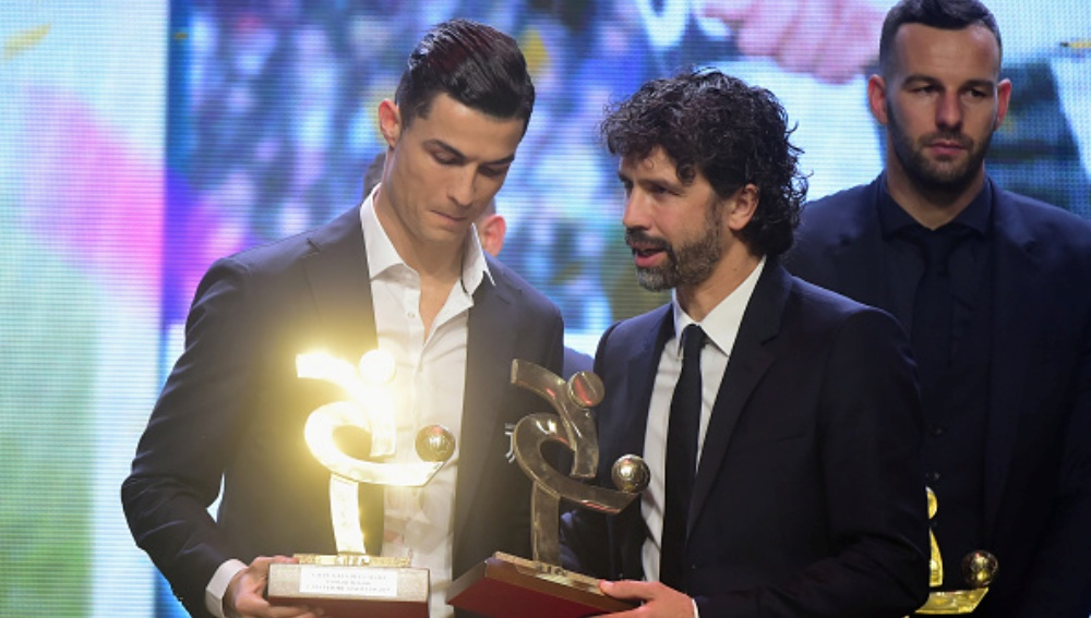 Image result for images of Cristiano Ronaldo crowned Serie A player of the year