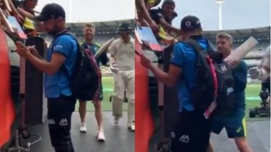 Rashid Khan Signs Autograph for Fans, David Warner Playfully Tries to Hit the Afghanistan Spinner with the Bat (Watch Video)