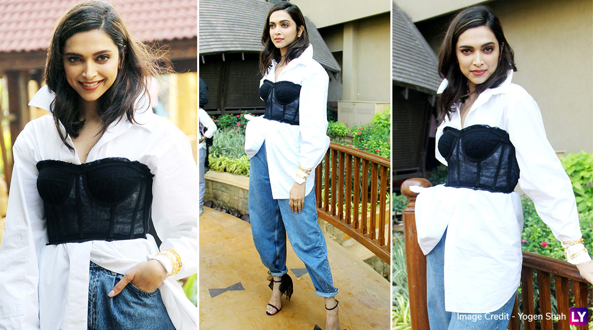 Deepika Padukone's Corset Top On White Shirt Combo Does Not Make That Desired Impression! (View Pics)