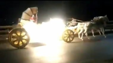 Pune: Horse Chariot Loses Control, Chauffeur Rides Triple Seat on Motorbike to Catch Hold of Them (Dramatic Video Goes Viral)