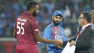 WI 152/7 in 17 Overs | (Target 241) | India vs West Indies Live Cricket Score 3rd T20I 2019 Match: Bhuvneshwar Kumar Removes Pollard