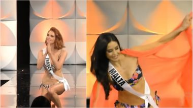 Miss Universe 2019 Contestants Slip on Wet Stage During the Bikini Round of 68th Edition of Beauty Pageant (Watch Video)