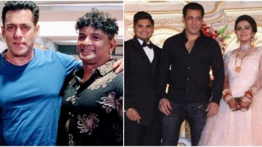 Salman Khan Graces the Wedding Reception of His Makeup Artist's Son (View Pics Inside)