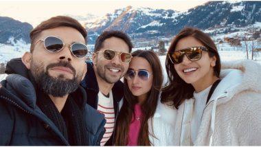 Fabulous Four! Anushka Sharma-Virat Kohli and Varun Dhawan-Natasha Dalal Are All Smiles in This Pic from Their Swiss Vacay