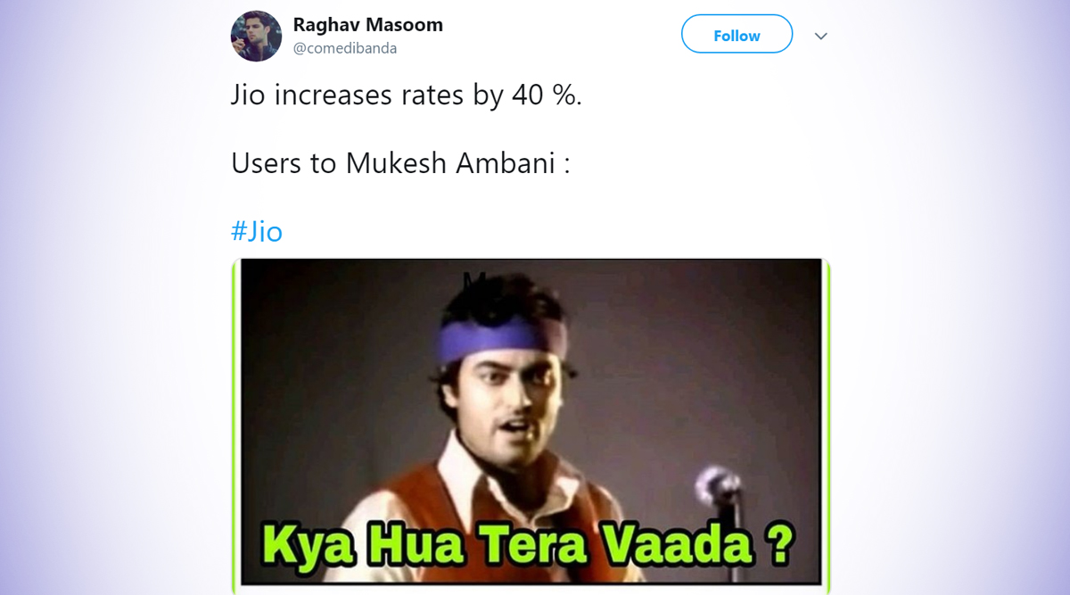 Jio Announces 40% Price Hike in Mobile Tariffs, Internet Responds With Funny Memes and Jokes Yet Again!