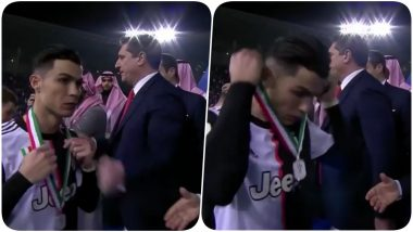 Cristiano Ronaldo Does Not Wear Silver Medal, Takes it Off Immediately After Lazio Beat Juventus To Win Supercoppa Italiana 2019-20 Title (Watch Video)