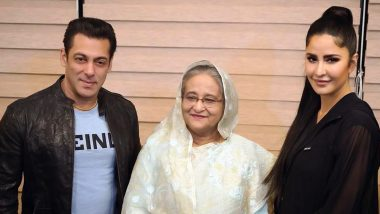 Salman Khan, Katrina Kaif Pose Along with Bangladesh PM Sheikh Hasina on Their Visit to the Opening Ceremony of BPL 2019