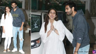 Sara Ali Khan and Kartik Aaryan are All Smiles as They Pose Together After a Dubbing Session and Look Like All's Well Between the Alleged Ex-Couple! (View Pics)