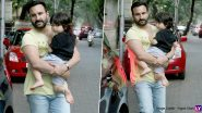 Taimur Ali Khan's Peek-a-Boo From Abba Saif Ali Khan's Arms Is Too Cute to Miss (View Pics)