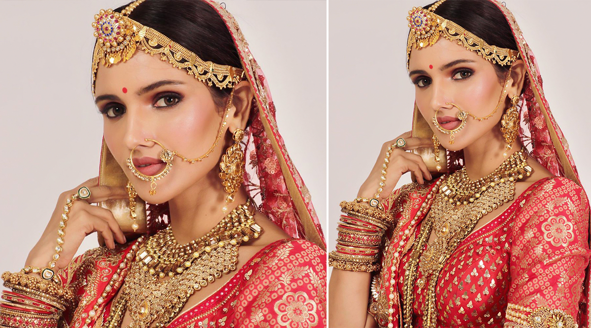 Vartika Singh, Miss India Universe 2019 Looks Ethereal in This Gorgeous Red and Golden Lehenga (View Pic)