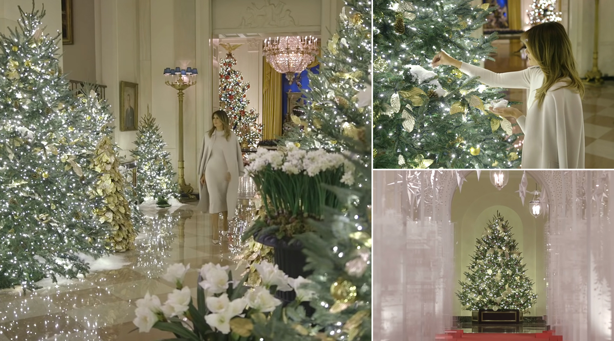 White House Christmas Decorations 2019: US First Lady Melania Trump Prepares to Celebrate the Holiday by Decking Up Giant Xmas Trees (Watch Video)