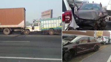 Rajasthan Fog: Vehicles Collide on National Highway 8 in Alwar's Dooghera Due Low Visibility, Dozens Injured
