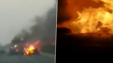 Gujarat: Vehicles Burn in Multiple Explosions After Truck Full of LPG Cylinders Overturns in Surat, Narrow Escape for School Kids; Watch Horrific Video