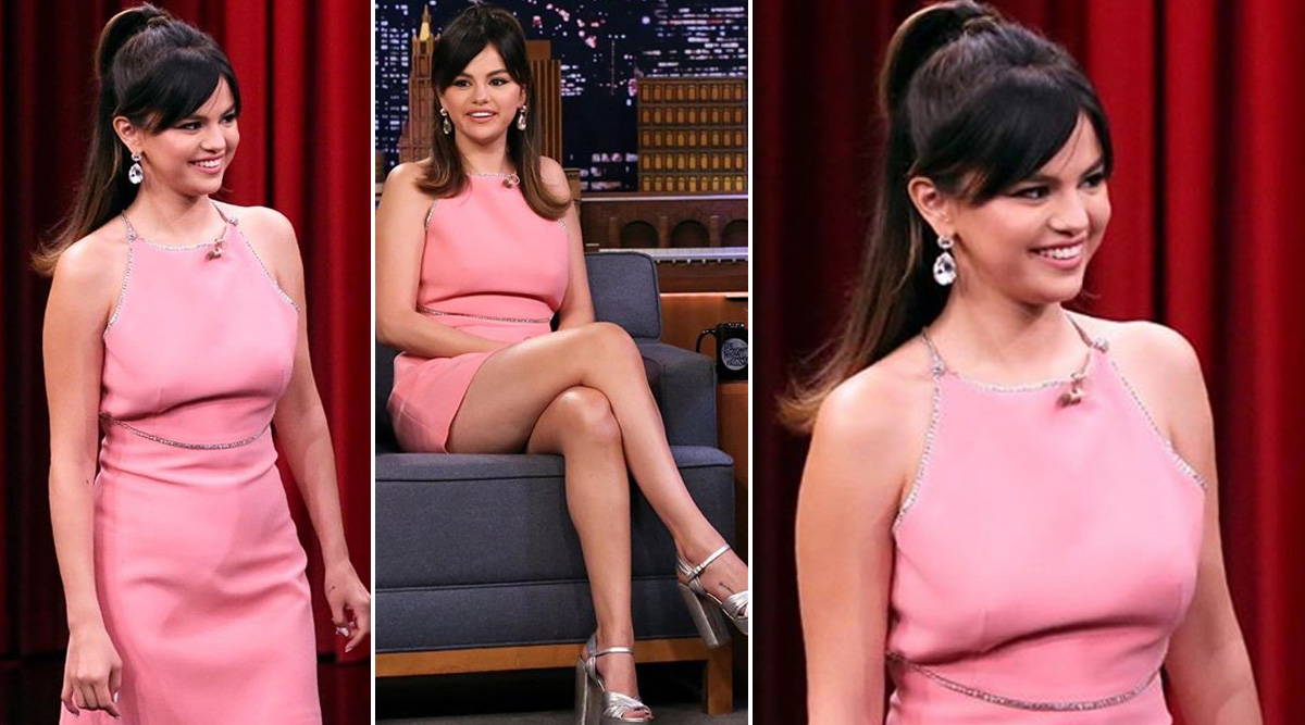 Selena Gomez Pairs her Pink Miu Miu Dress with a Vintage Hairdo and Honestly, We Couldn't Have asked for a Better Combination (View Pic)