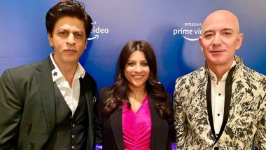 Shah Rukh Khan Meets Amazon CEO Jeff Bezos During his India Visit and Teaches him his Iconic Don Dialogue (Watch Video)