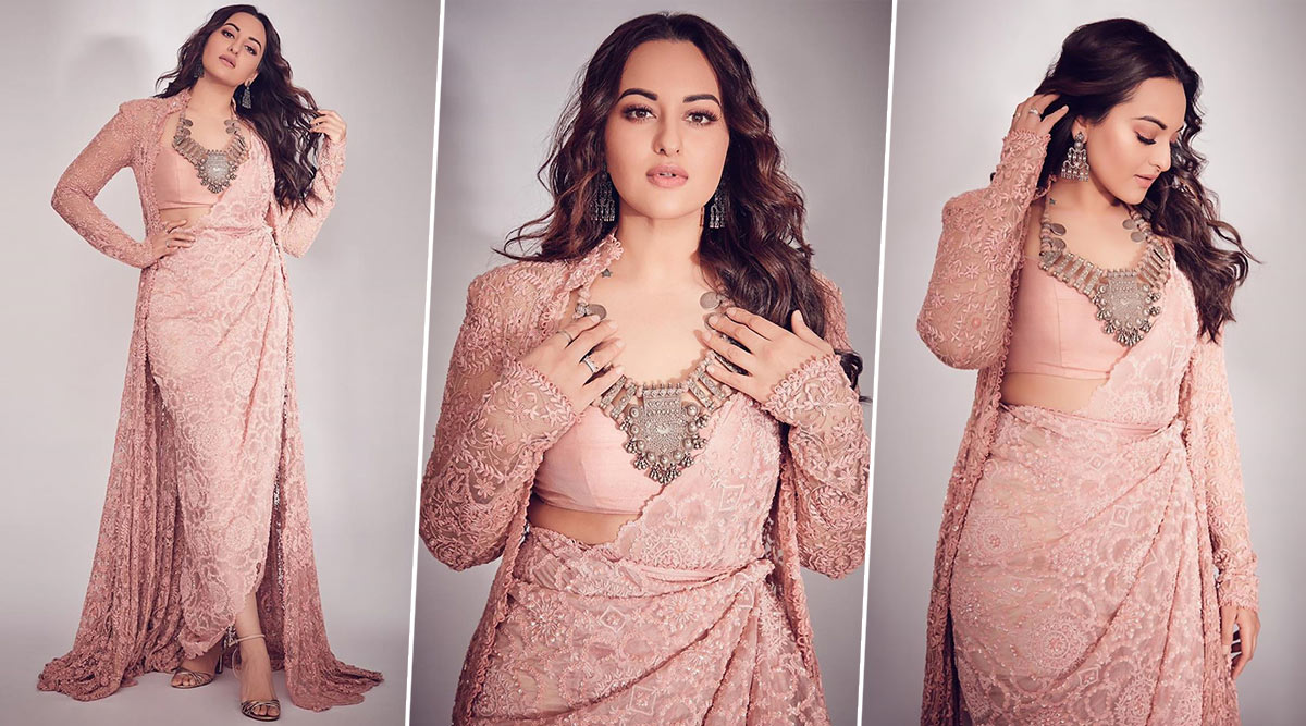 Pretty and Pastel! Sonakshi Sinha Looks Resplendent in her Anamika Khanna Outfit (View Pics)