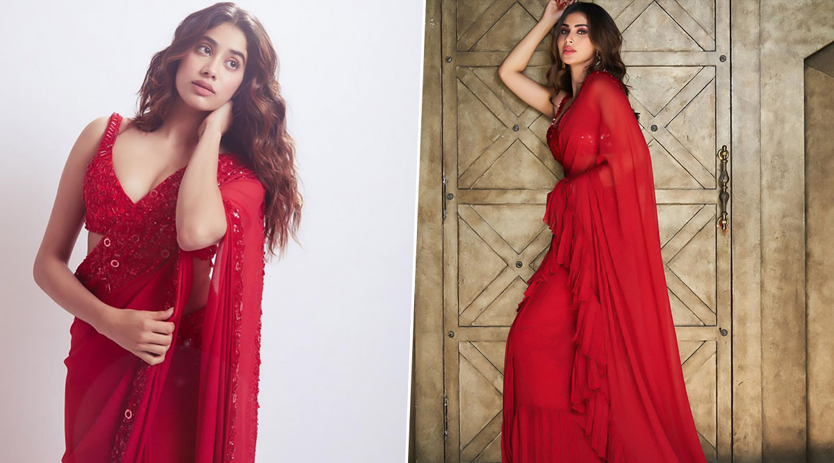 Fashion Faceoff! Janhvi Kapoor and Mouni Roy Raise Temperatures in Red Hot Sarees But Who Impressed You More?