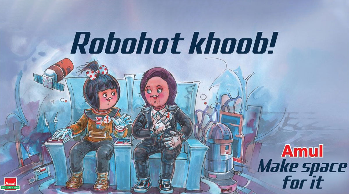 Amul Topical Ad Featuring Vyommitra, ISRO's Half-Humanoid With 'Utterly-Butterly' Girl is Going Viral