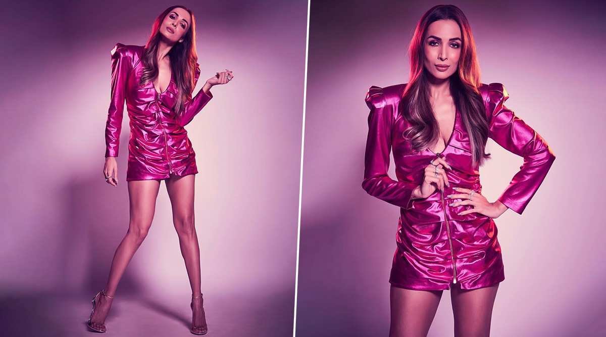 Malaika Arora Dazzles in a Metallic Pink Outfit and We are Loving This Edgy Look! (View Pics)