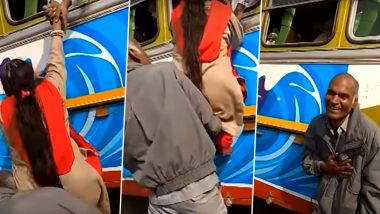 Love Conquers All: Man Pushes Wife Inside a Crowded Bus Through Window in West Bengal! (Watch Funny Video)