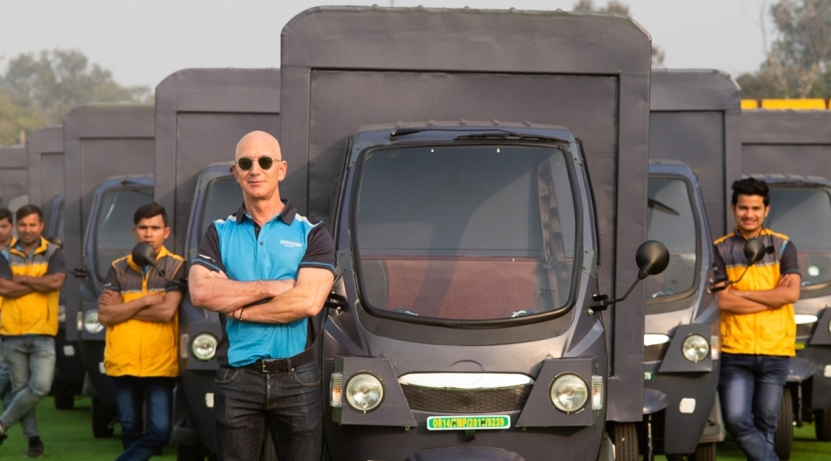 Jeff Bezos, Amazon CEO, Drives Electric Delivery Rickshaw; Video Goes Viral