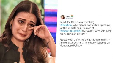 Netizens Call Dia Mirza 'Desi Greta Thunberg', Asks Her to Give Up 'Diesel SUV' As She Breaks Down in Tears Speaking on Climate Change (Read Tweets)