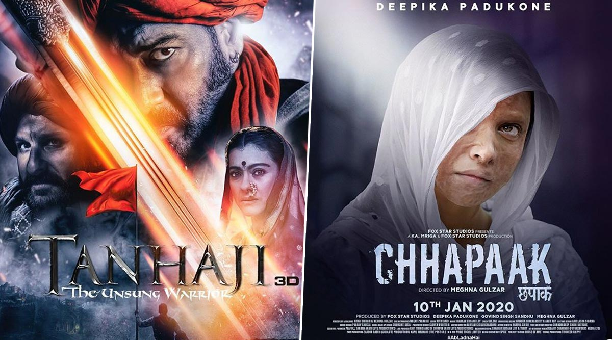Tanhaji vs Chhapaak Box Office Collection Day 2: Ajay Devgn Starrer Leads the BO Race by Earning Rs 35.67 Crore, While Deepika Padukone's Film Mints Rs 11.67 Crore