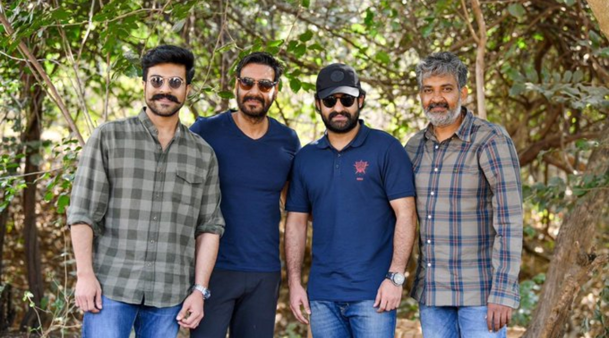 RRR: Ajay Devgn Poses With Ram Charan, Jr NTR and Director SS Rajamouli On the Sets of the Period Drama (See Pic)