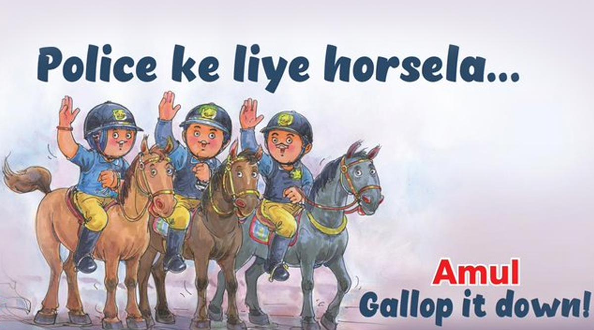 Amul Topical Honours The Mumbai Police Mounted Unit That Will be Unveiled on Republic Day Parade 2020, View Pic