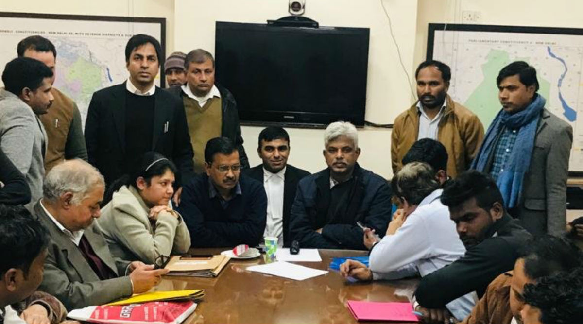 Delhi Assembly Elections 2020: Arvind Kejriwal Waits For His Turn At Election Office As Several Independents Turn Up to File Nomination