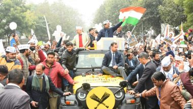 Delhi Assembly Elections 2020: Arvind Kejriwal Leads Grand Roadshow on Way to File Nomination From New Delhi Seat; Watch Video