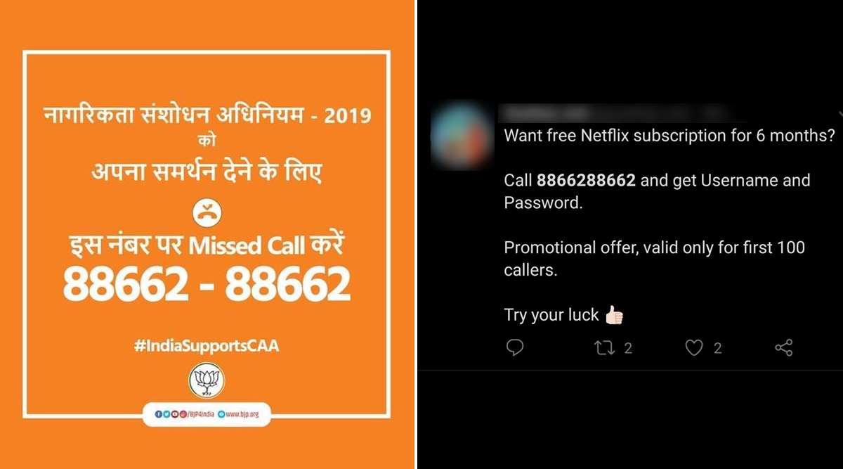 From Free Netflix Subscription, Mobile Data to Hot Chats With Girls, Does The 'Support CAA' Number 88662-88662 Tweeted by BJP Offer all? Beware of Fake Messages