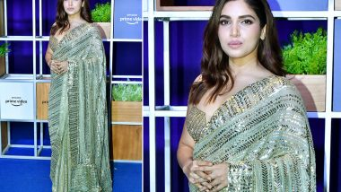 Bhumi Pednekar Keeps It Slinky and Sleek in Manish Malhotra Sequin Saree for Jeff Bezos Welcome Bash!