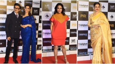 Chhapaak Premiere: Deepika Padukone Looks All Glam in a Blue Saree; Ranveer Singh, Swara Bhasker, Rekha and Others Attend the Screening (See Pics)