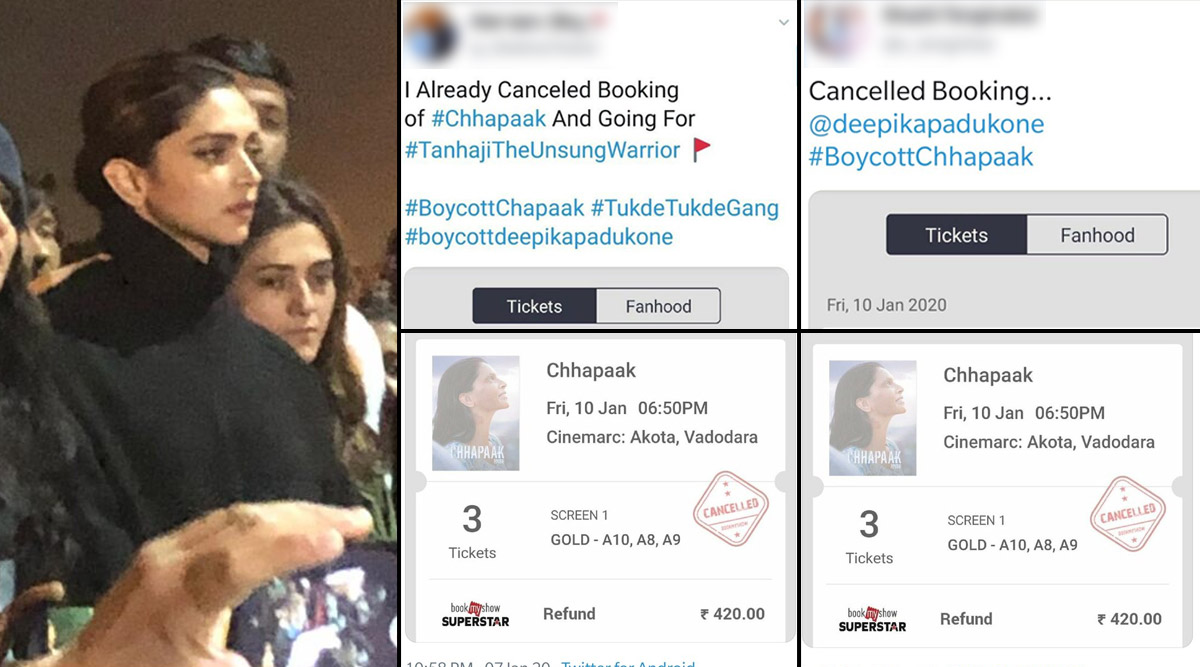 Deepika Padukone's JNU Visit: Twitter User Discovers How Same Movie Ticket Was Booked And Cancelled by Multiple Netizens Trending #BoycottChhapaak; See Tweets And Images