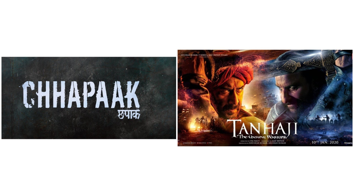 Chhapaak vs Tanhaji: The Unsung Warrior Box Office Report Day 4: Deepika Padukone's Film Earns Rs 21.37 Crore, Ajay Devgn's Flick Rs 75.68 Crore