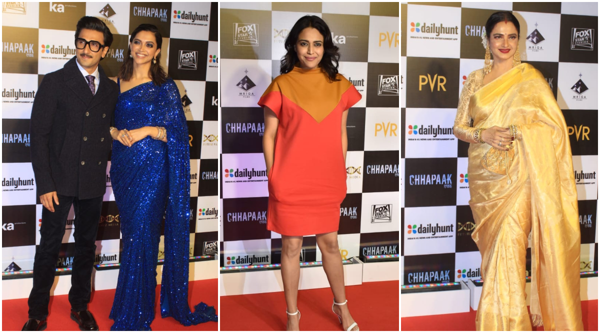 Chhapaak Premiere: Deepika Padukone Looks All Glam in a Blue Saree; Ranveer Singh, Swara Bhasker, Rekha and Others Attend the Screening (See Pics)