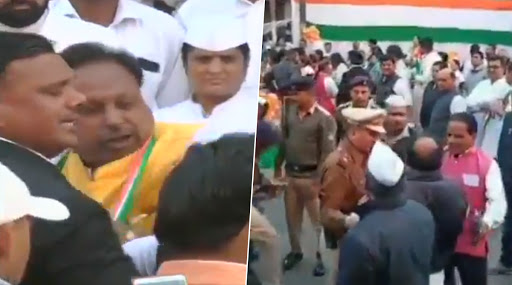 Madhya Pradesh: Two Congress Leaders Exchange Blows During Republic Day Celebrations In Indore Ahead of Flag Hoisting, Watch Video