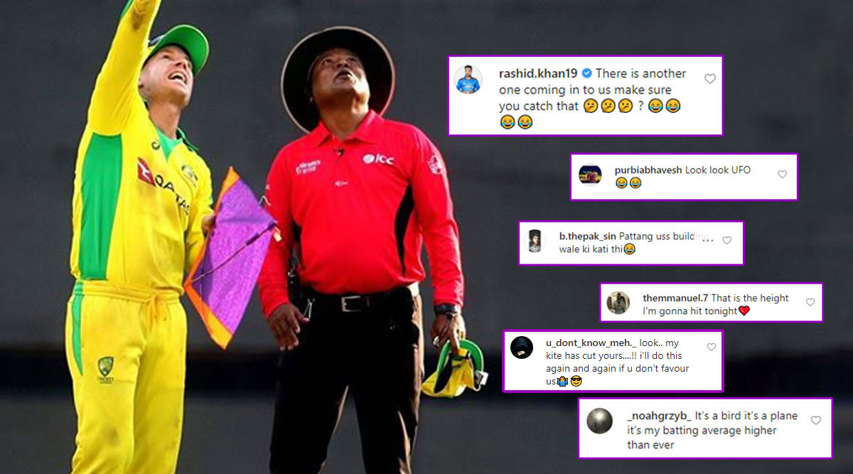 David Warner Asks Fans to Caption His Picture With Kite, Fans Come Up With Wittiest Comments!