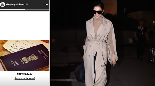 Deepika Padukone Leaves For Davos 2020 World Economic Forum To Accept The Crystal Award (View Pics)