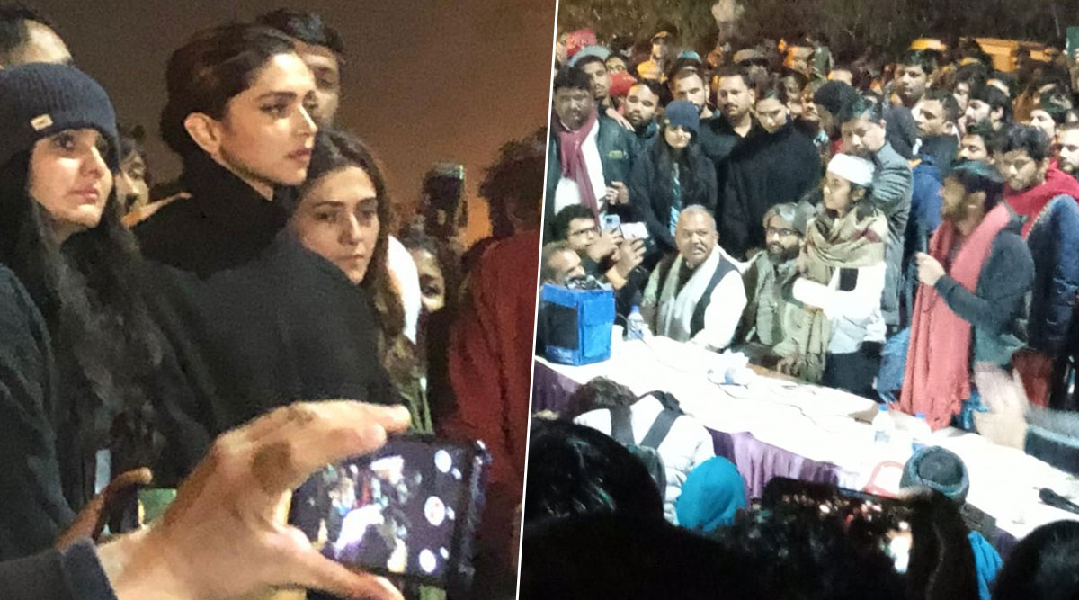 Deepika Padukone Visits JNU to Express Solidarity With the Students, Stands Beside Injured JNUSU President Aishe Ghosh and Former Student Leader Kanhaiya Kumar (View Pics)