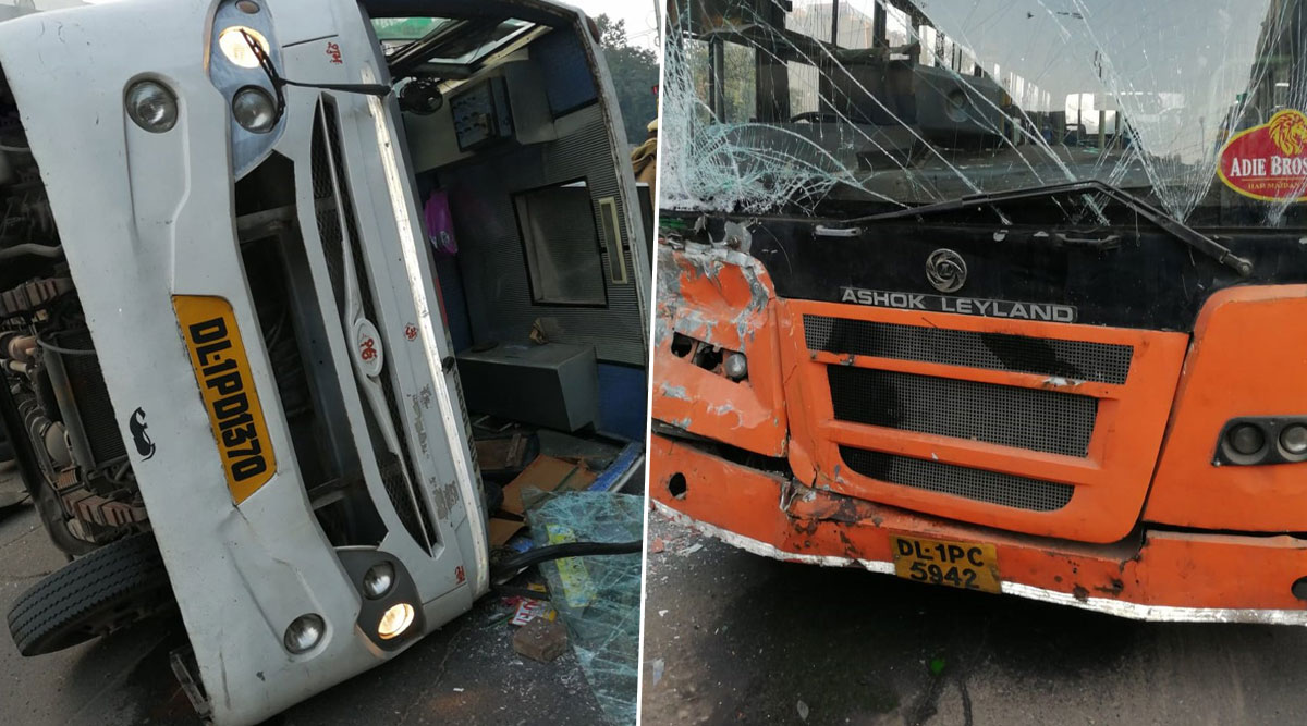 Delhi: School Bus Collides With Cluster Bus in Naraina, Six Students Wounded