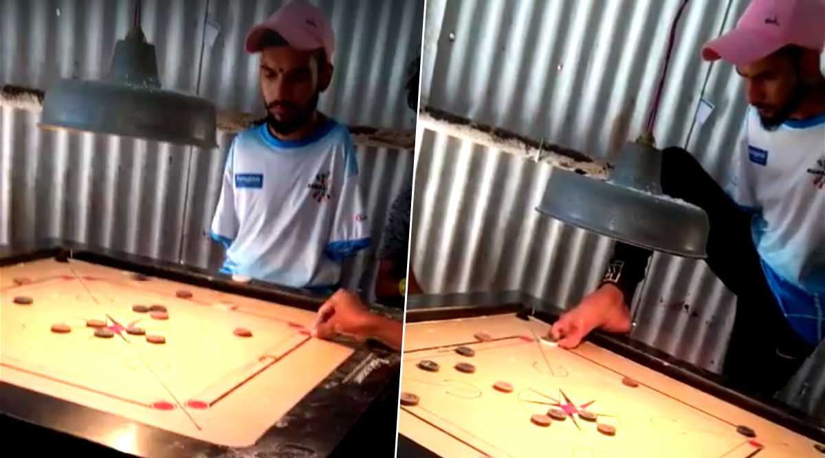 Differently-Abled Man Playing Carrom With Feet And Striking A Stunning Shot Goes Viral (Watch Video)