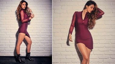 Disha Patani Sets The Temperature Soaring In A Sexy Wine Dress From Her Idol Beyonce's Clothing Line (View Pics)