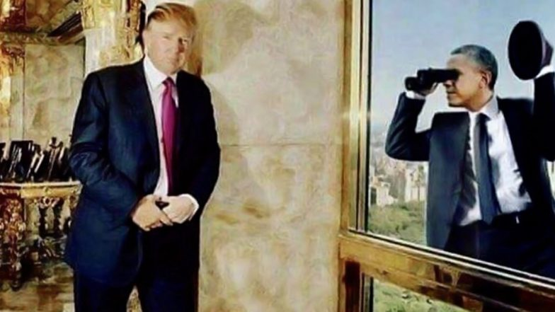 Donald Trump Shares Photoshopped Image of Barack Obama Spying on Him, Gets Slammed on Twitter