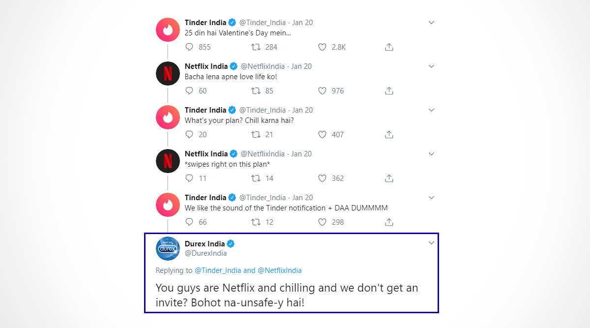 Durex Condoms Witty Reply on Valentine's Day 2020 Plans Between Tinder and Netflix is Awesome Threesome! (Check Tweets)