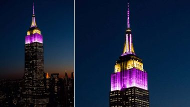Kobe Bryant Tribute: NYC's Empire State Building Lights Up in Purple and Golden To Mourn NBA Legend's Untimely Death (See Photo)