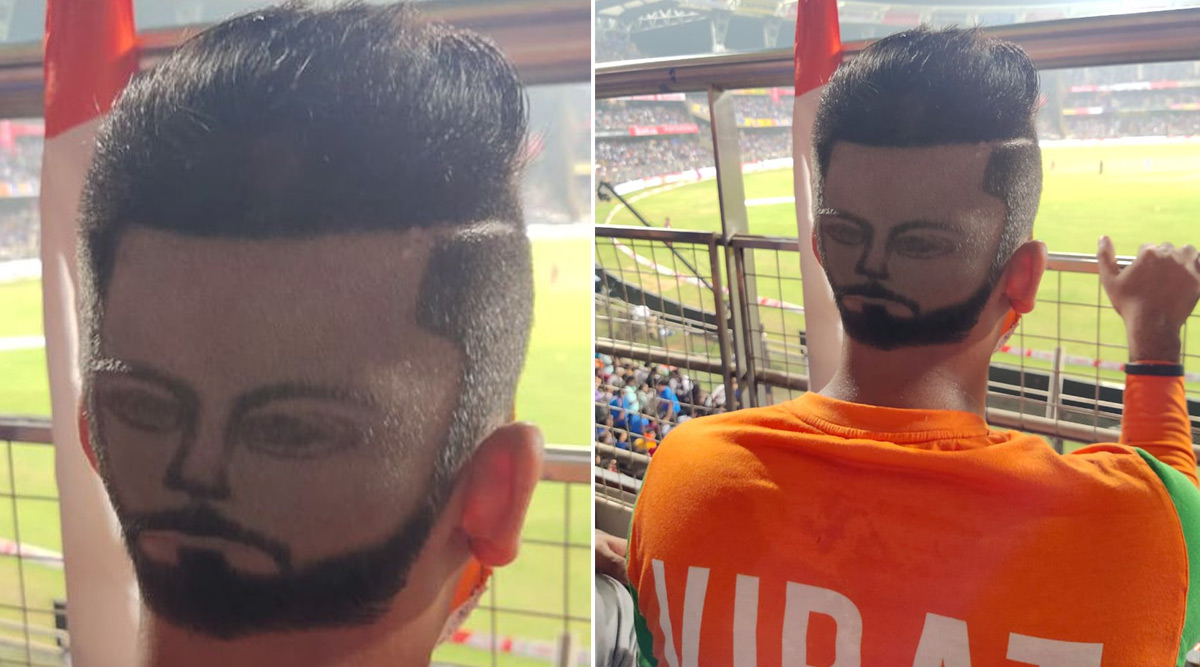 Virat Kohli's Fan Following Reaches Another Level! Fan Carves Indian Captain's Face on Back of His Head; Check Out the Viral Hairstyle