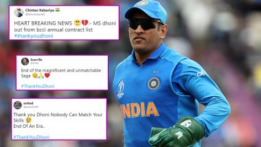 #ThankYouDhoni Trends on Twitter After MS Dhoni's Exclusion From BCCI Annual Contract List, Fans Speculate Former India Captain's Retirement