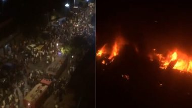 Mumbai: Fire Breaks Out at Residential Building in Kurla West, Firefighters And Water Tankers at Spot; Watch Video